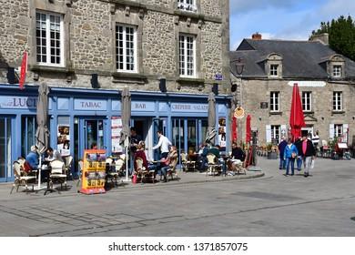 Guerande, France - april 14 2017 : restaurant in the medieval city in spring