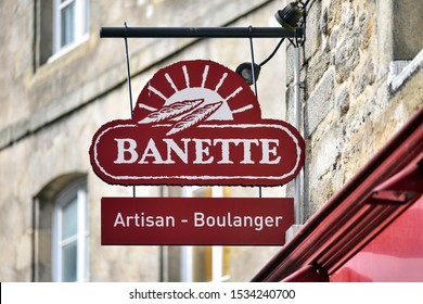 GUERANDE, FRANCE - OCTOBER 5, 2019: Banette logo in front of a bakery of the company. Banette is a group of French millers promoting traditional French breads such as baguette.