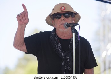 Guerneville, CA/USA - 6/10/18: Eric Burdon sings at the Russian River Blues Festival. He previously sang with bands The Animals, War. Rolling Stone ranked him 57th of 100 greatest singers of all time.