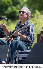 Guerneville, CA/USA: 6/10/2018: Elvin Bishop performs at the Russian River Blues Festival. He's an original member of the Paul Butterfield Blues Band and was inducted to Rock and Roll Hall of Fame.