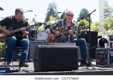 Guerneville, CA/USA: 6/10/2018: Elvin Bishop (right) performs at the Russian River Blues Fest. He's an original member of the Paul Butterfield Blues Band and inducted to Rock and Roll Hall of Fame.