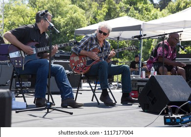 Guerneville, CA/USA: 6/10/2018: Elvin Bishop (middle) plays at the Russian River Blues Fest. He's an original member of the Paul Butterfield Blues Band and inducted to Rock and Roll Hall of Fame.