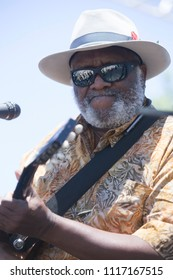 Guerneville, CA/USA: 6/10/2018: Henry Saint Clair Fredericks aka Taj Mahal performs at the Russian River Blues Festival. He has received three Grammy Awards and ten nominations.