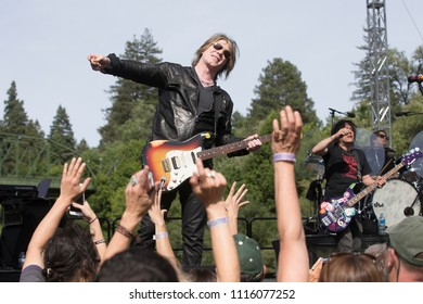 Guerneville, CA/USA - 6/9/18: Johnny Rzeznik performs with the Goo Goo Dolls at the Feel Good Beach Party at Johnson's Beach.  The Goo Goo Dolls are a Grammy Nominated group.
