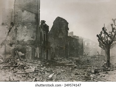 Guernica, after series of bombings by the Nationalists. During Spanish Civil War, on April 29, 1937, planes of the German Luftwaffe 'Condor Legion' and the Italian Fascist 'Aviazione Legionaria'.