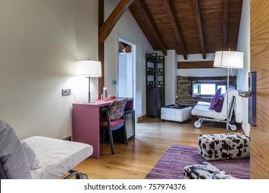 GUERNICA, BIZKAIA BASQUE COUNTRY MAY 22 2017: nice and warm pink room of a small rural hotel in the Basque mountains near Bilbao