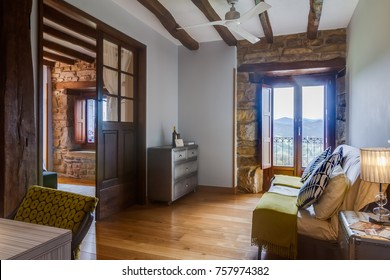 GUERNICA, BIZKAIA BASQUE COUNTRY MAY 22 2017: nice and warm interior room of a small rural hotel in the Basque mountains near Bilbao