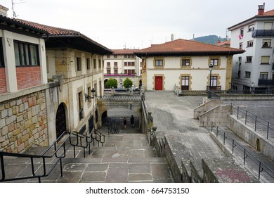 GUERNICA, SPAIN -11 JUN 2017- View of the center of Guernica (Gernika), a town in the province of Biscay, Basque Country, Spain. Its 1937 bombing was famously painted by Picasso.