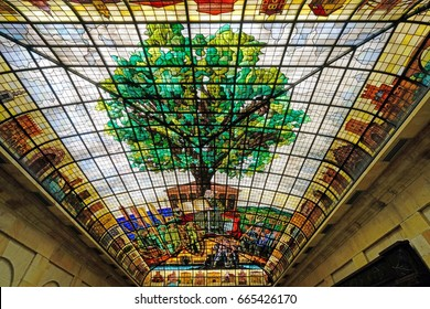 GUERNICA, SPAIN -11 JUN 2017- Inside the Assembly House of Gernika, a historic town in the province of Biscay (Bizkaya), Basque Country, Spain. The oak tree is the symbol of Basque freedom.