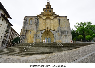 GUERNICA, SPAIN -11 JUN 2017- The Iglesia Santa Maria church in Gernika, a historic town in the province of Biscay (Bizkaya), Basque Country, Spain.