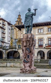Guernica, Spain - April 09, 2018: View of the center of Guernica (Gernika), a town in the province of Biscay, Basque Country, Spain. Statue of Count Don Tello