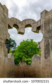 Guernica, Spain - April 09, 2018:  Sculpture by Eduardo Chillida, work Gure aitaren etxea (La casa de mustro padre), commissioned by the Basque Government on the anniversary of the bombing of Gernika