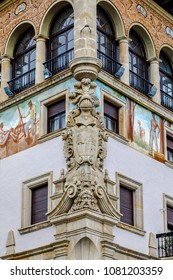 Guernica, Spain - April 09, 2018: Ancient house in classical style in Guernica. Decorated with paintings and sculptures.