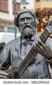 Guernica, Spain - April 09, 2018: Monumnt to Jose Maria Iparragirre, guitarist and author of the hymn Gernikako Arbola, the Tree of Gernika, Gernika Lumo