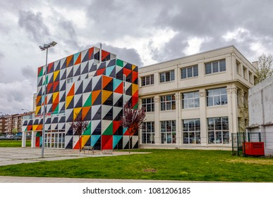 Guernica, Spain - April 09, 2018: Former Astra weapons factory in Gernika-Lumo.The original building, built in 1916 and declared a Historical Heritage, renovated by Liam Gillick.