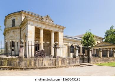 "Guernica, Spain. The building of the cultural center (Gernikako Batzarretxea) and the young ""State Oak"""