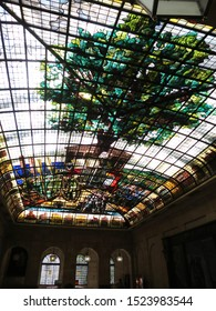 Guernica, SPAIN - JUL. 30, 2019. The Tree of Guernica stained glass ceiling in the Assembly House