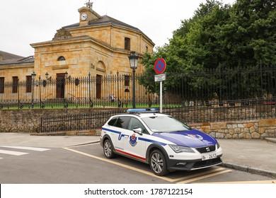 Guernica / Spain - July 8th 2020: A car of the autonomous Basque police Ertzaintza in a street of Guernica
