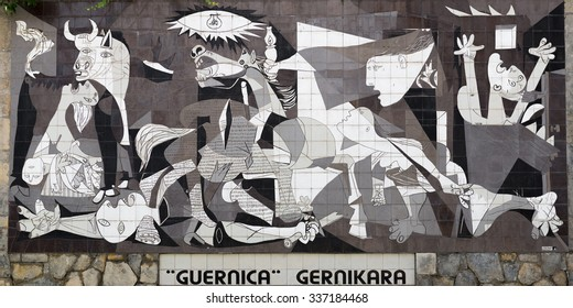 Guernica, Spain - October 10, 2015: A tiled wall in Gernika reminds of the bombing during the Spanish Civil War.