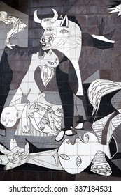 Guernica, Spain - October 10, 2015: A tiled wall in Gernika reminds of the bombing during the Spanish Civil War. Closeup