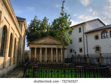 GUERNICA, SPAIN - OCTOBER 25, 2015: The new tree of Gernika in the Guernica Assembly yard. Oak tree that symbolizes traditional freedoms for the Basque people as a whole.