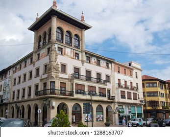 Guernica, Spain - September 2018: Old building in Guernica, Spain