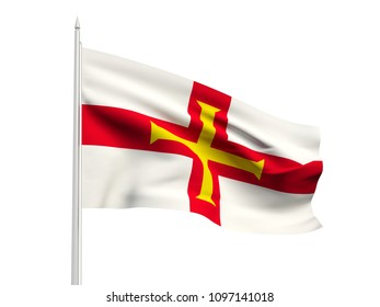 Guernsey flag floating in the wind with a White sky background. 3D illustration.