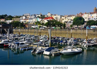 Guernsey, United Kingdom - August 6, 2018:  Village and harbor in St. Peter Port, which is the capital and main sea port in Guernsey.