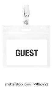 Guest badge or ID pass isolated on white background, clipping path included