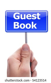 guest book or guestbook concept with hand and paper