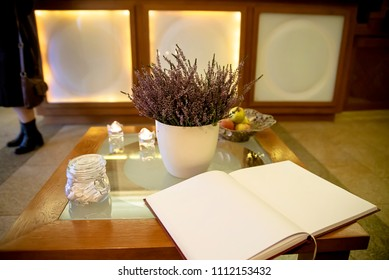 Guest book near the reception in the hotel