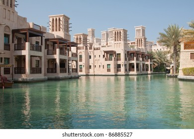 Guest rooms at the Madinat Jumeirah hotel, Dubai, overlooking the Abra waterway system