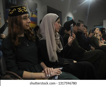 "Guests at the show of the Crimean Tatar clothing brand ""Qara biber"" in the Crimean House, in Kiev, February 1, 2019"