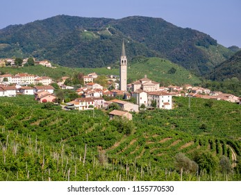 Guia village in the municipality of Valdobbiadene, prosecco sparkling wine vineyards and production zone