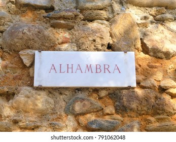 Guide board of the Alhambra  palace