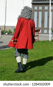 Guide, dressed in historical costume, tells the history of the city. Historical fortress and city Fredrikstad.Named after the Danish King Fredericks II. June 19,2018. Fredrikstad,Norway