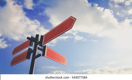 Guide post Signs On the bright sky background