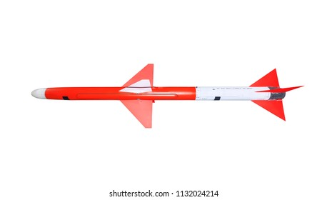 Guided fighter jet missile on white background