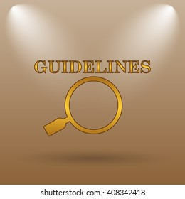Guidelines icon. Internet button on brown background.