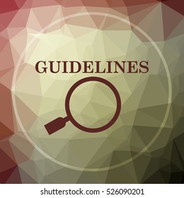 Guidelines icon. Guidelines website button on khaki low poly background.