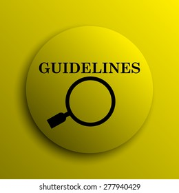 Guidelines icon. Yellow internet button.