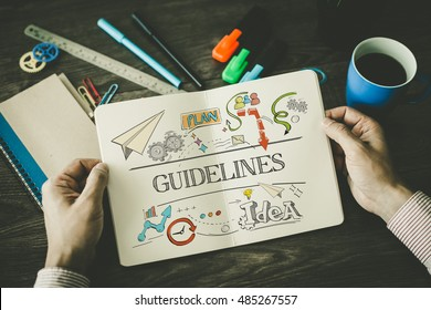 GUIDELINES sketch on notebook