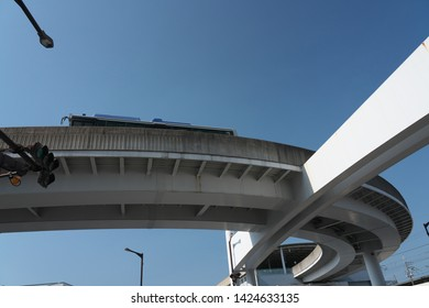 A guideway bus system or guided busway, Yutorito line, track near Ozone station in Nagoya, Japan