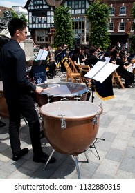 Guild Hall Square, Salisbury, Wiltshire, England - July 10, 2018, BIS Kuala Lumpur classical, film and traditional music for orchestra, sax and brass ensembles
