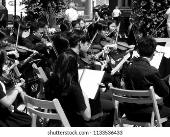 Guild Hall Square, Salisbury, Wiltshire, England - July 10, 2018, monochrome BIS Kuala Lumpur classical, film and traditional music for orchestra, sax and brass ensembles