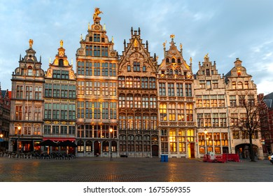 Guild Houses at the Market Square in Antwerp (Belgium)