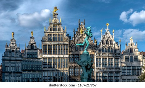 The guild houses Guild houses on the Grote Markt Antwerp Belgium