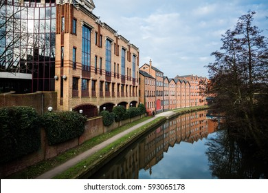 Guildford building and canal, England.