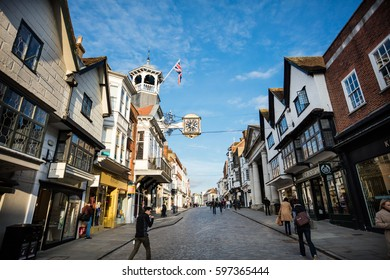 GUILDFORD, ENGLAND, 15 FEBRUARY, 2017: Guildford High Street, England. Main shopping Street