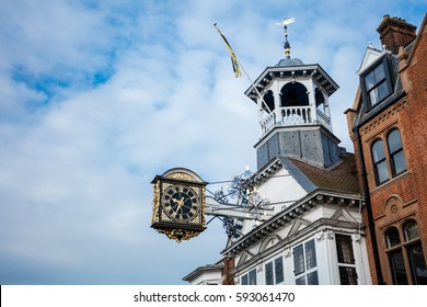 Guildford High Street, England. Main shopping Street with Clock